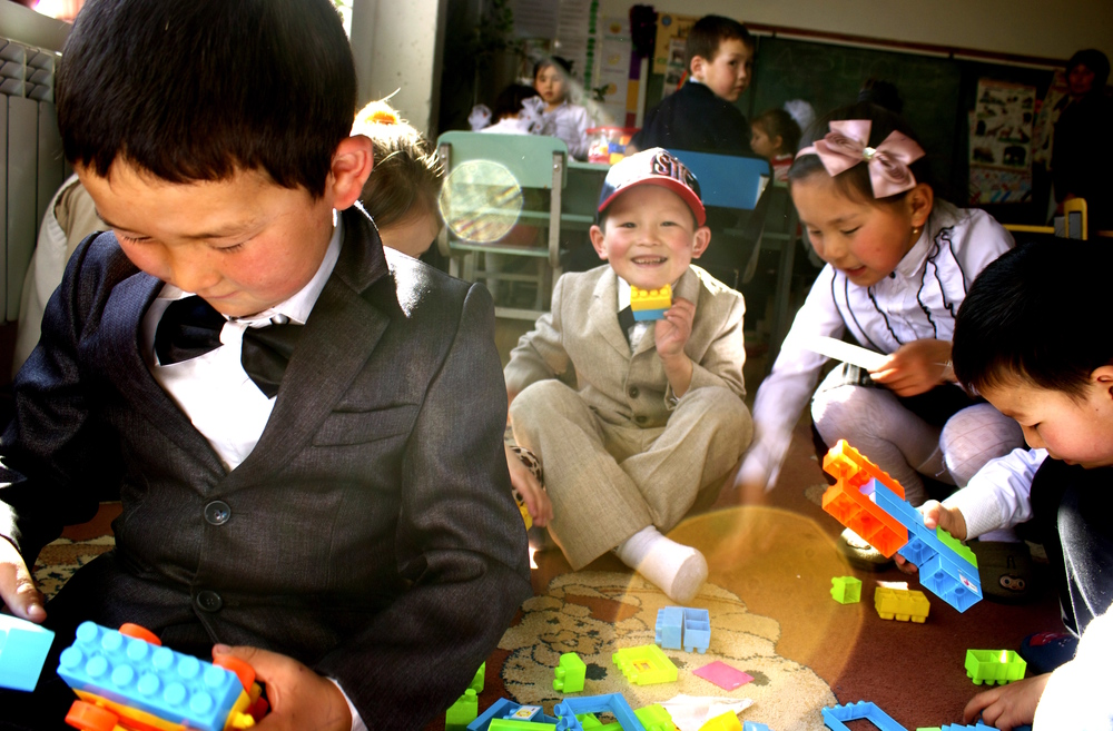 Students playing in a Bilimkana classroom.