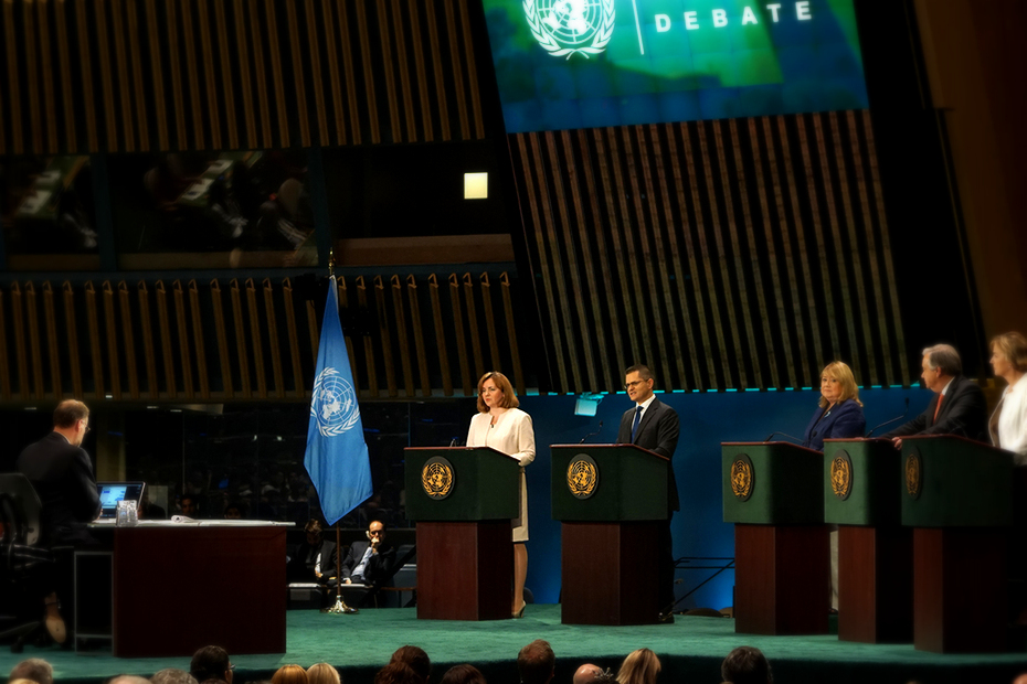 Ambassador Gherman with other Secretary-General candidates at the UN Global Townhall event on July 12, 2016