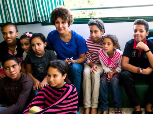 Arab Excellence mentor Nezha Bidouane at an Arab Excellence workshop for orphans in Youssoufia, Morocco